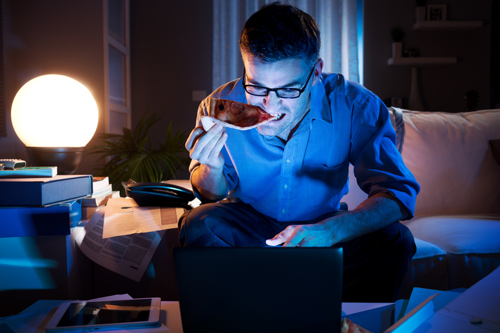 Eating in front of computer