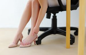 Office massage foot. Fatigue and relaxation.