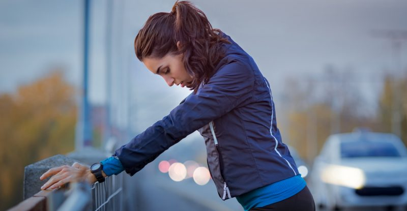 Runner rest during city workout