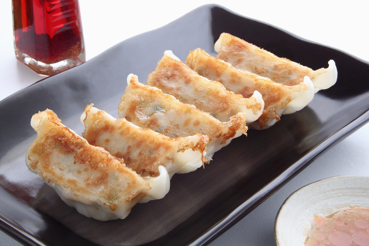 Pot Stickers with Dumpling Sauce and Chili Oil