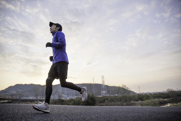 Japanese men running in the morning